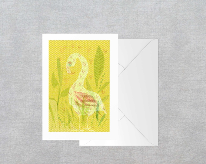 Patterned goose blank A6 greeting card