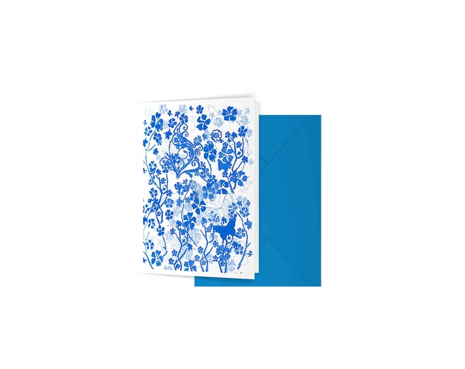 Blue butterflies greeting card floral pattern blank birthday sympathy wedding card A6 gift card