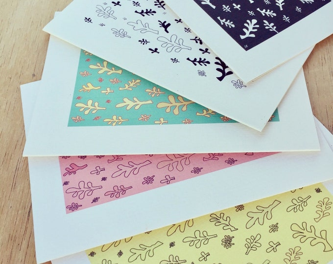 Leafy stationary set of 10 handmade greeting cards