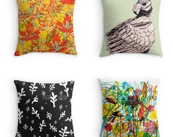Floral Pattern  Bird  Eagle Doves Cockatoo Leaves Throw pillows