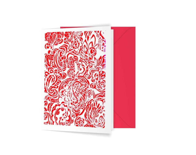 Red paisley greeting card