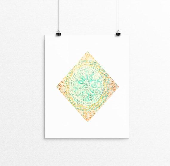 Diamond mandala unframed art print