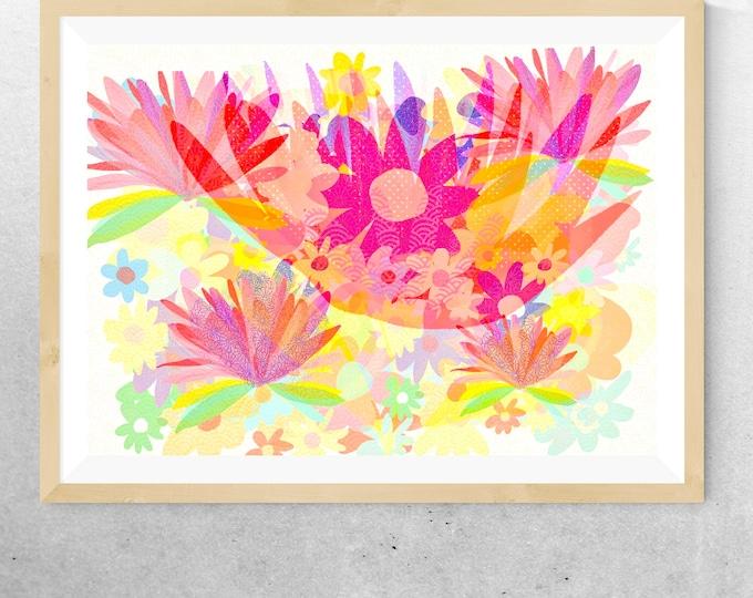Sixties flower power framed print