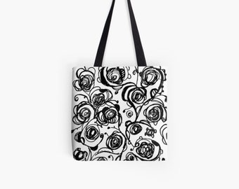 Black and white roses Tote bag