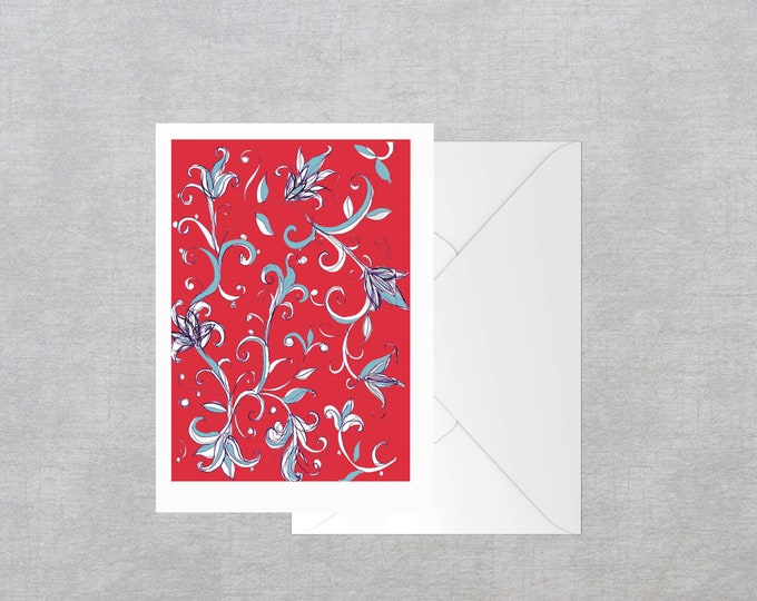 Red Lilies greeting card