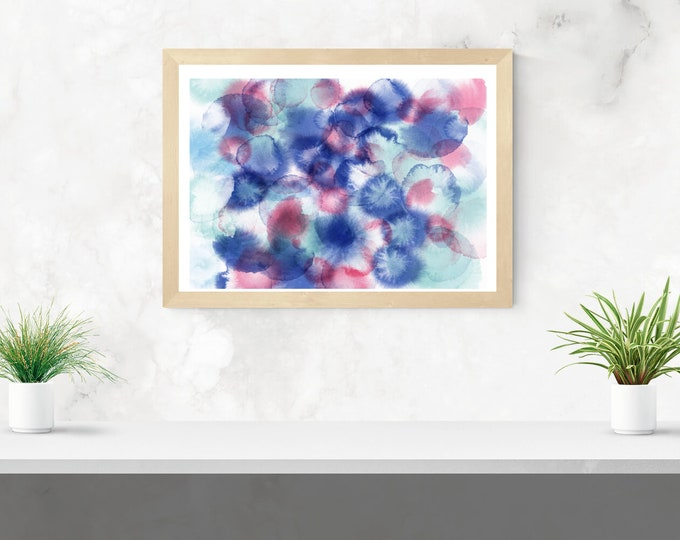 blue and pink ink spots abstract framed art print