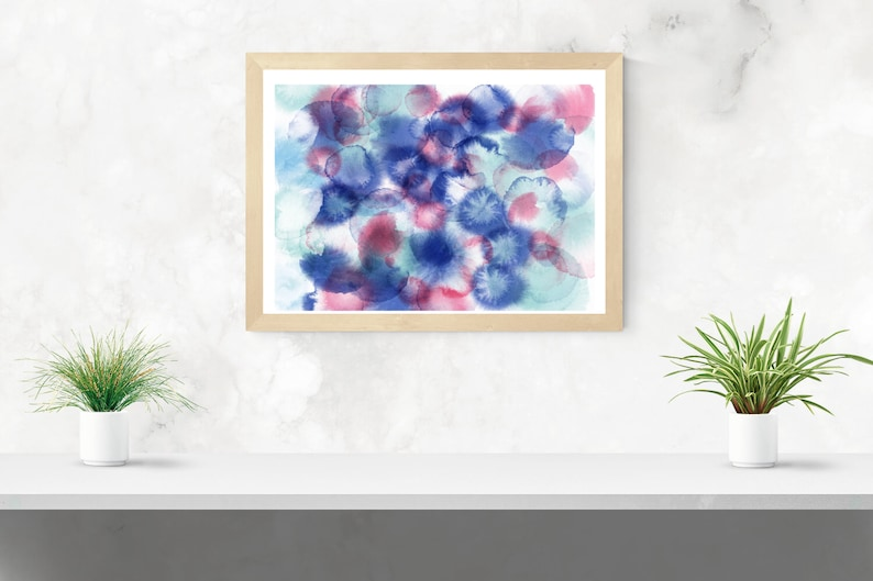 blue and pink ink spots abstract framed art print Natural timber