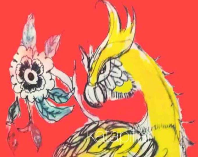 Yellow bird and flowers unframed print