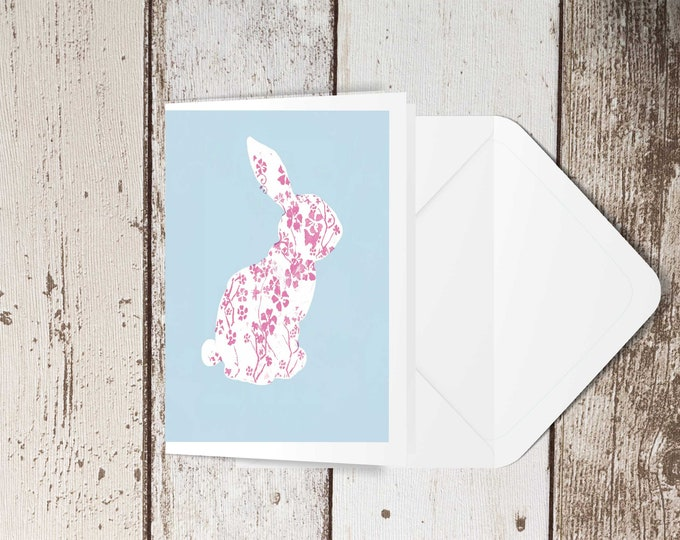 Pink and blue bunny blank greeting card