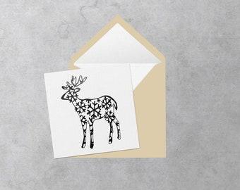 Black Reindeer square greeting card