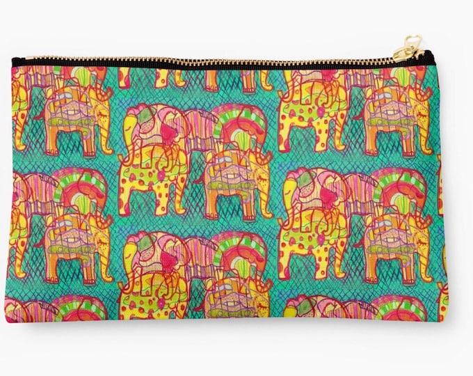 Elephants fabric pouch 24 x 15 cm