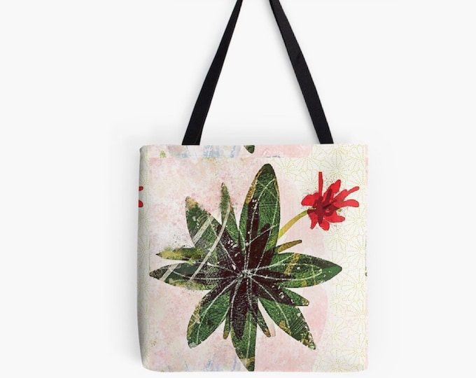 Red flower succulent Tote bag