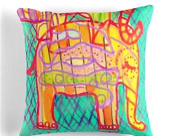 "Elephant Throw Pillow home decor printed throw cushion 41x41cm 16"""