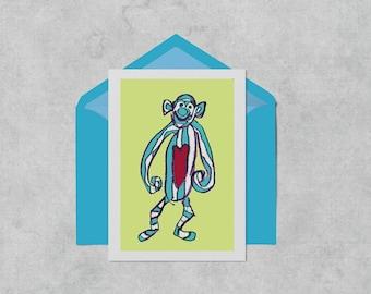 Monkey birthday card, A6 kids birthday card, celebration greeting card green and blue new baby card