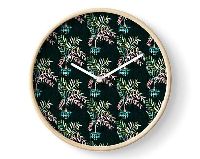 Black date palm  clock