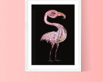 Big pink bird  framed art print