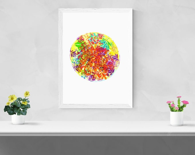 Floral mandala  giclée print, framed wall art home decor