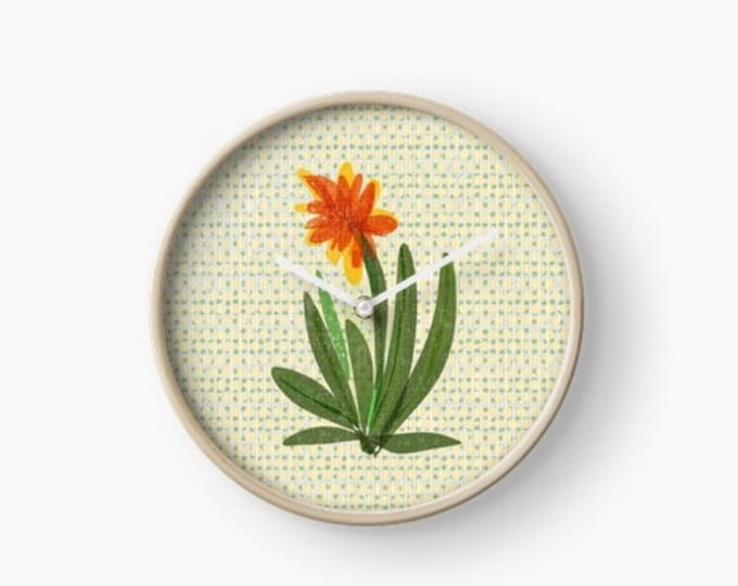Orange Succulent  clock