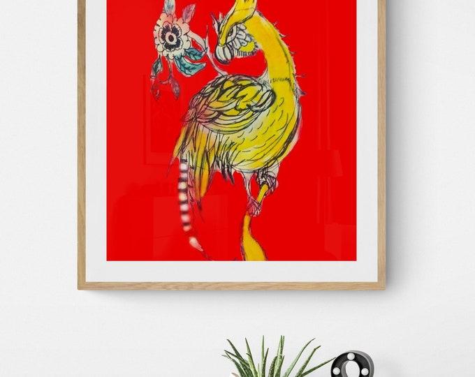 Posing yellow bird framed art print