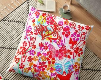"""pink butterflies throw pillow  16x16"""" 41x41cm"""