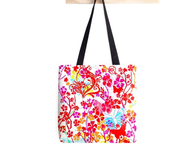 Pink and red butterflies Tote bag