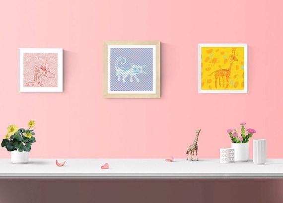 Cat art print framed wall art square framed print home decor kids wall art baby nursery decor