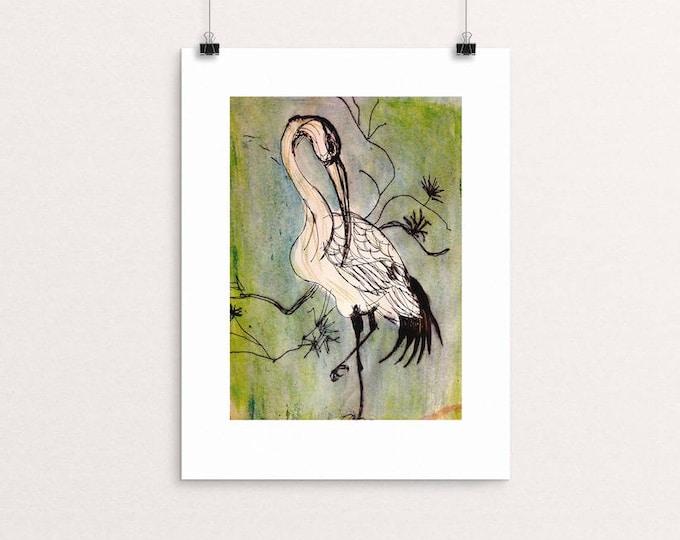 Crane bird giclée unframed print