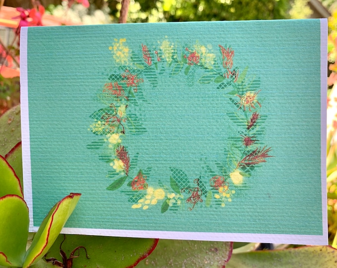 Merry Christmas flower greeting card A6 blank inside