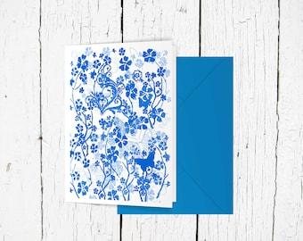Blue butterflies greeting card floral pattern blank birthday sympathy wedding card A6 gift card