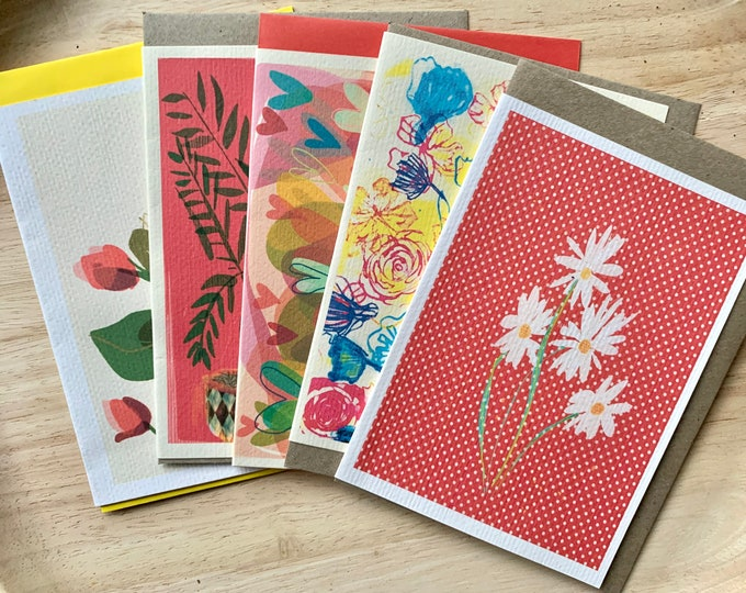 A bunch of florals palm and hearts greeting cards pack of 5