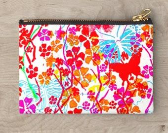 Pink Butterflies fabric pouch bag insert zipped fabric bag oil pouch coin purse fabric phone wallet