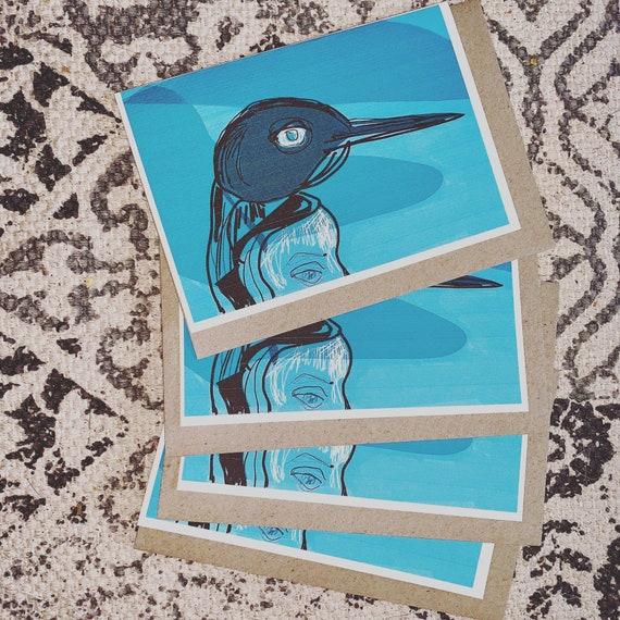 Polar eyes penguin blank greeting card