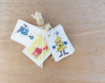 Christmas gift tags, pack of 10, reindeer, Christmas tree