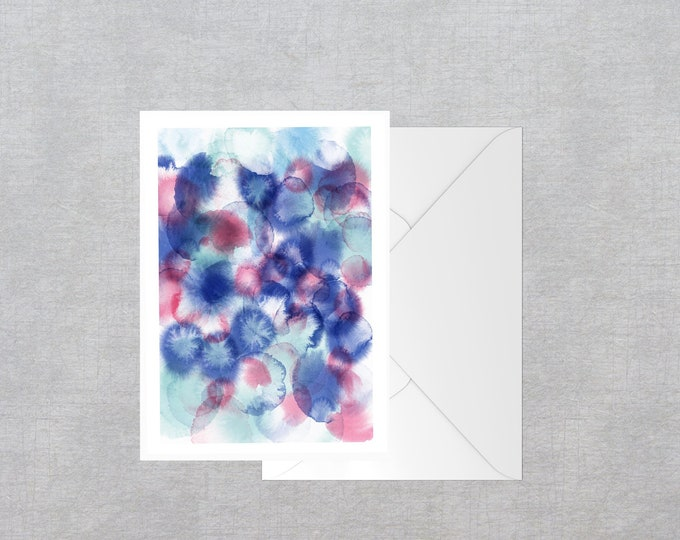 Blue and Pink ink spots blank greeting card