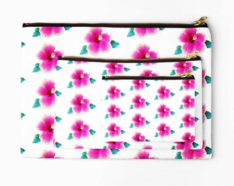 Hibiscus fabric pouch