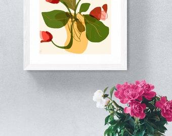 Roses in vase framed art print