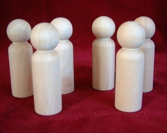 6 of No. 4 Tall Man Unfinished Hardwood Peg Doll