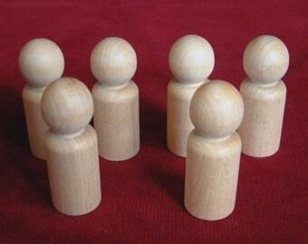 6 No. 5 Large Boy or Man Peg Dolls, Unfinished Hardwood