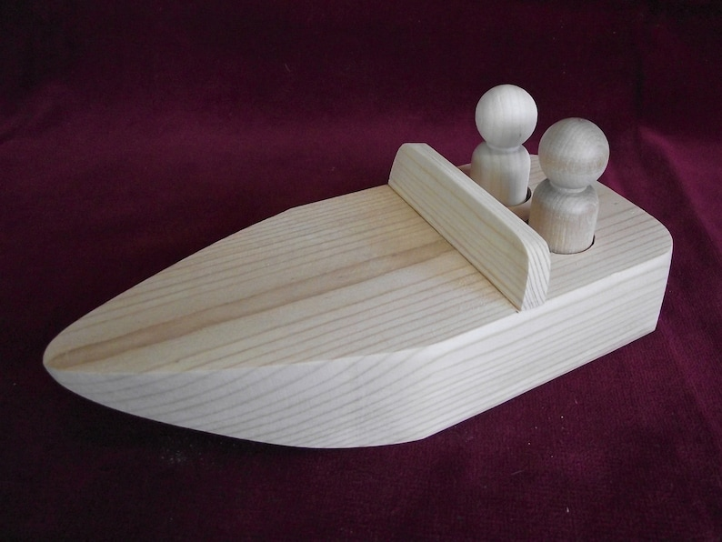 Unfinished Pine Speed Boat for 2 Peg Dolls