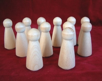 12 No. 1 Large Angel or Woman Peg Dolls