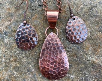Copper Dragon Egg Necklace & Earring Set