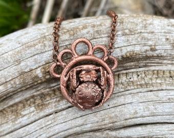 Copper Electroformed Orbweaver Spider Necklace