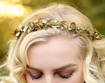 bridal gold crown - gold boho halo - gold rose crown - gold flower girl crown - wedding rustic flower crown - gold bridal crown - gold crown