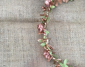 Bridal Rose Gold Crown | Rose Gold Boho Halo | Rose Gold Wedding Crown | Green Leaf Crown Wreath | Woodland Greenery Flower Crown| Hair Twig