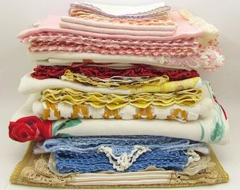 34 Large Vintage Linens Grab Bag - doilies - handkerchiefs - crocheted lace - destash - cutter linens - large bulk linen lot