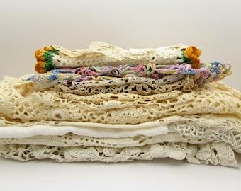 15 Vintage Doilies Grab Bag - Crocheted Doilies - Vintage Linens Destash - Crocheted Lace