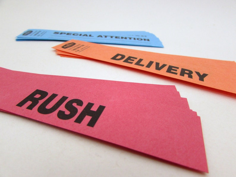 collage journaling Delivery Rush Special Attention dry cleaner tags Collage Ephemera 30 Order Status Tags