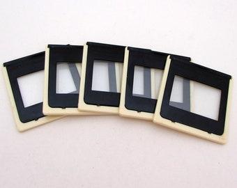 5 glass slide mounts - glass frames - empty frames - photo slide frames - 35mm slide frames - NOS - collage mixed media ephemera