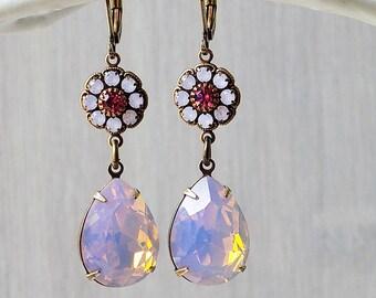 Opal Ohrringe, Rosenwasser Opal Shabby Rosa Geschenk Mädchen, Geschenk Frau, Estate Stil, Vintage Style, awesome pink Ohrringe, rosa Ohrringe, Strass