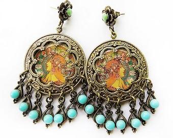Gypsy Earrings, Zodiac Earrings, Mucha Earrings, Art Nouveau, boho chic, bellydance jewelry, pagan earrings, turquoise green, earrings, gift